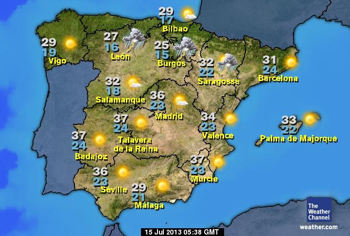 La météo en Espagne sur Sejour.org