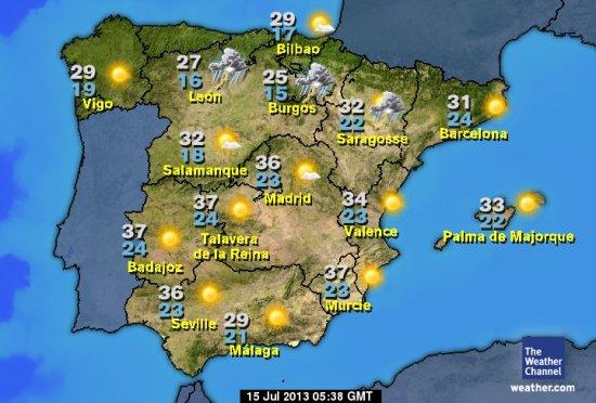 La météo en Espagne